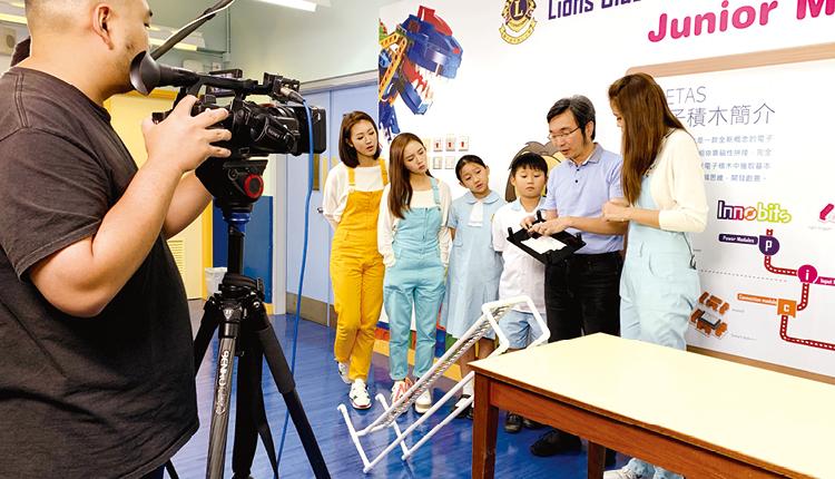 無線電視台「學是學非」節目到校拍攝學生 STEM 學習活動。