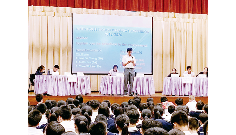社際英語辯論比賽由高年級帶領低年級同學組隊,透過活動使各人英語水平得以急速成長。