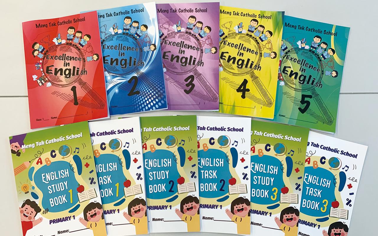 為了迎合教育新趨勢,教師憑著專業的知識與反思能力,結合各級學習重點、閱讀策略,製作了校本的英文學習冊。