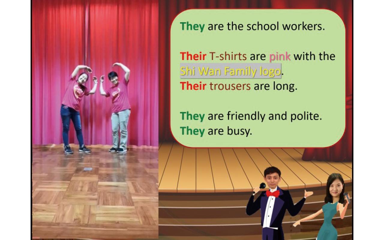 多元互動英語學習網課:校長、老師、職工和學生粉墨登場,營造出「只此一家」的英語網課。