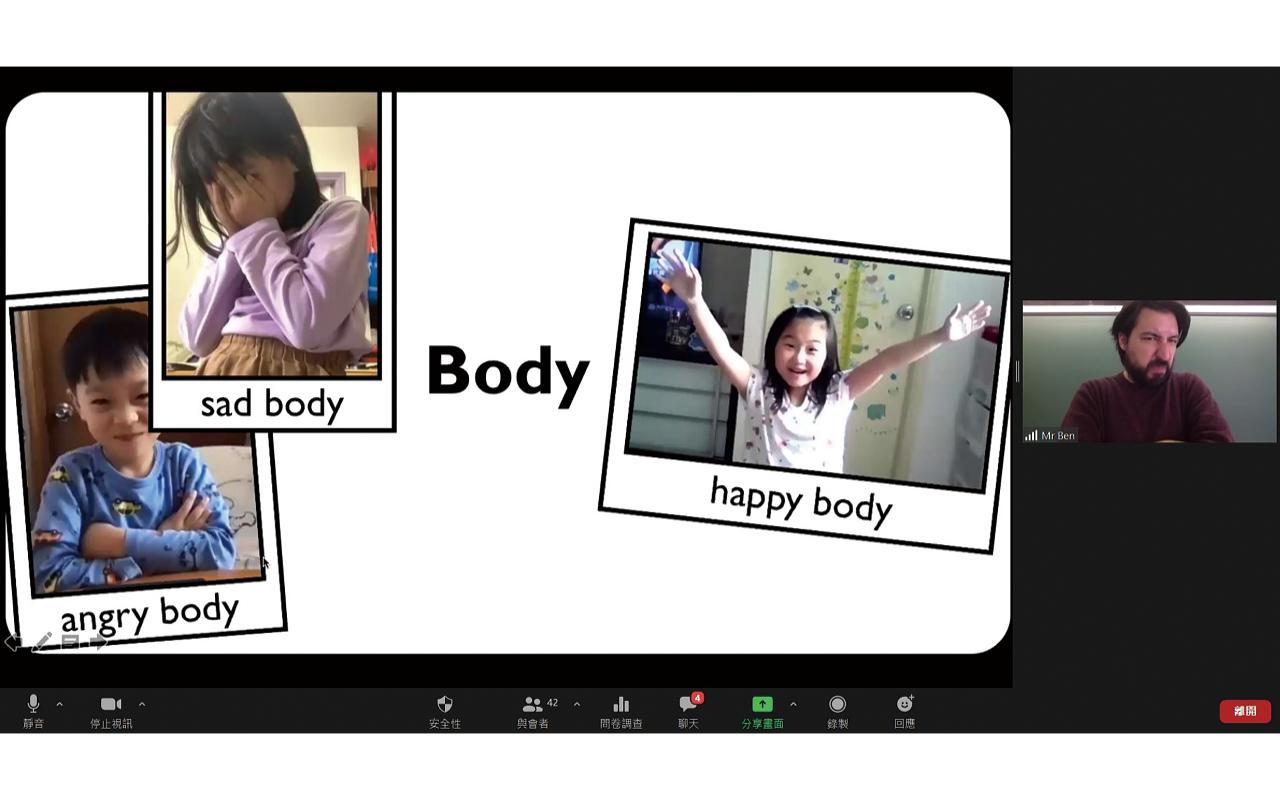 鑑於疫情,學校全面推行BYOD,並將戲劇教育融入網課,讓同學透過Zoom做表情,以聲音演出話劇,突破地域限制。