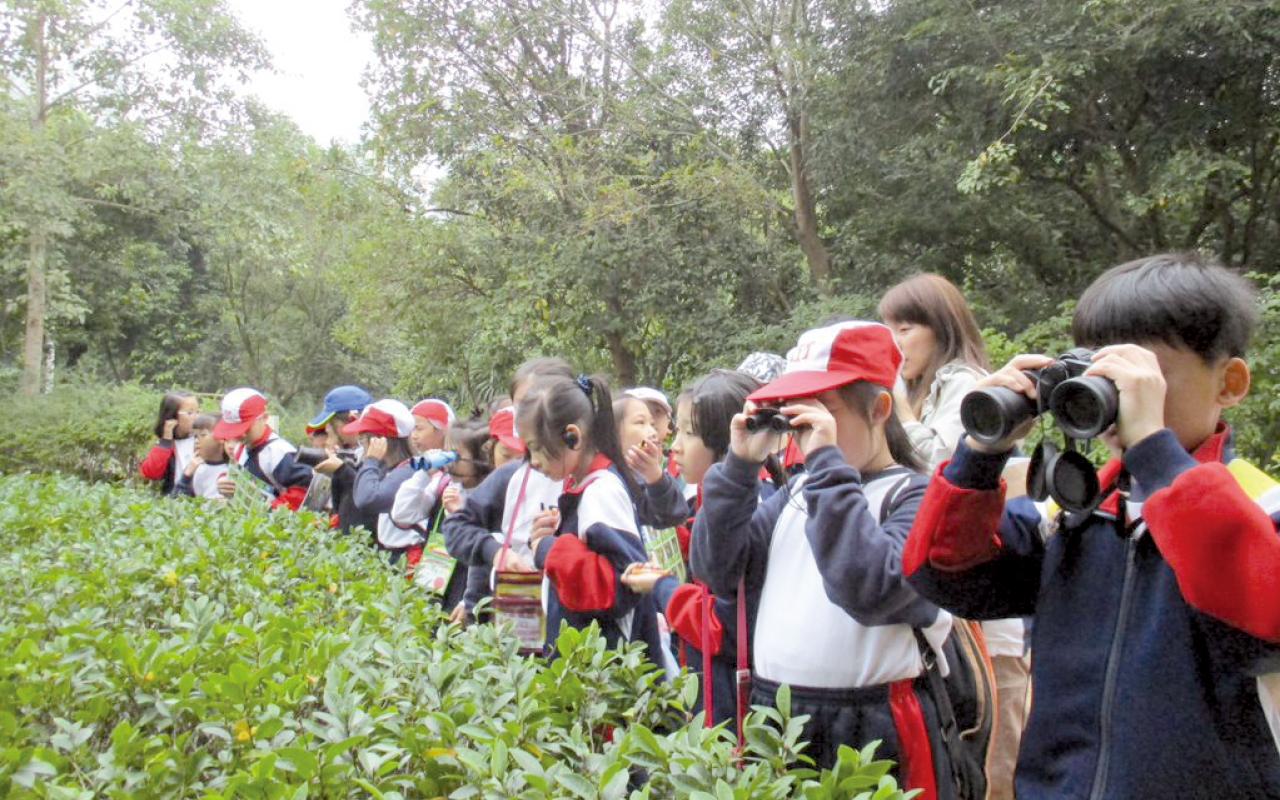 同學實地考察濕地生態,探索自然科學的奧秘。