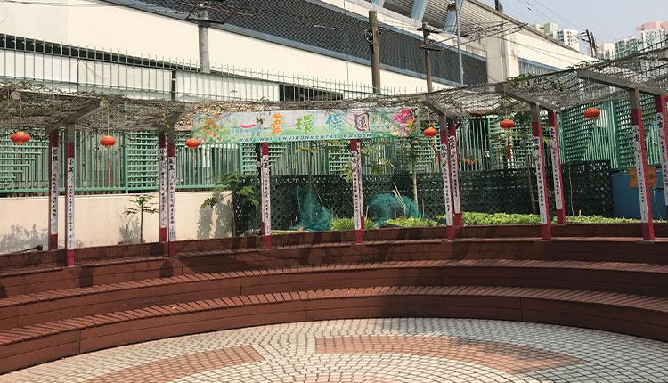 郭一葦中學「悅學軒」,花棚涼亭,魚菜共生,加上書法練習台,供學生用清水也可練字,中國文化氛圍又自成一閣。