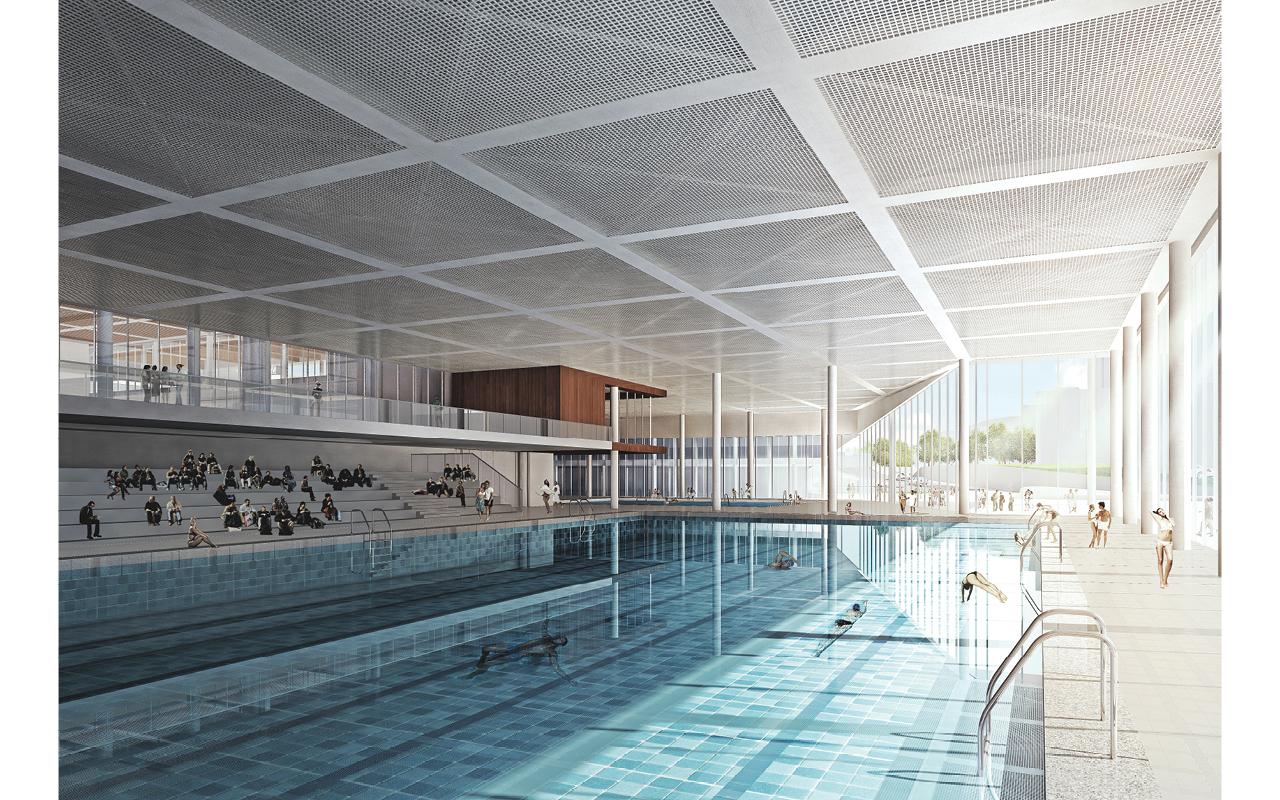 校內體育設施齊備,如游泳池、籃球場等一應俱全。